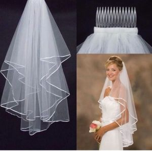 Two Layer Ribbon Veil with Comb-White